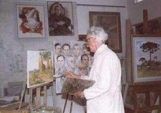 Foto de Theodoro de Bona em seu atelier