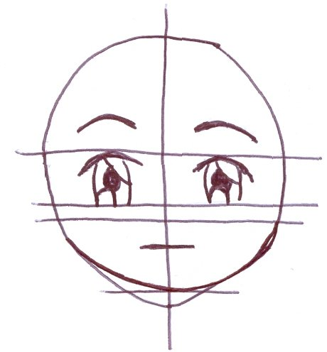 Ilustração mostrando passos do desenho do rosto masculino em Mangá