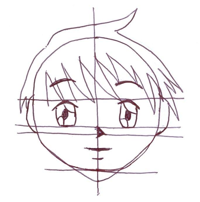 Desenho mangá nariz, boca e orelha