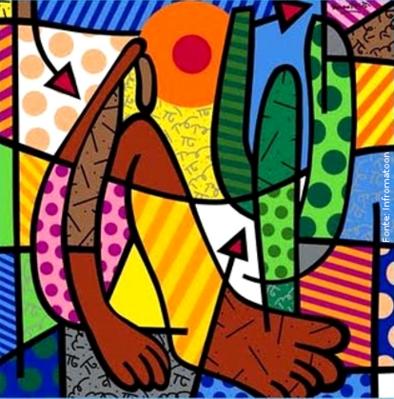 Romero Britto � um pintor e escultor brasileiro, nasceu em Recife-Pernambuco, em 6 de outubro de 1963. Hoje vive em Miami, nos Estados Unidos. Britto segue o estilo da Pop-Art, estilo art�stico que surgiu no final dos anos 50 e est� baseado no reprocessamento de imagens populares e de consumo, estando ligado ao trabalho publicit�rio. As telas de Romero Britto s�o alegres e coloridas, na maioria delas ele usa textura gr�fica, explorando formas geom�tricas. Romero afirma j� haver pintado 5.000 telas, espalhadas por 70 pa�ses. O quadro Abaporu � uma releitura da obra Abaporu de Tarsila do Amaral. <br/> Palavras-chave: Romero Britto, Abaporu, Tarsila do Amaral, Pop art, EUA, Miami, releitura, publicidade