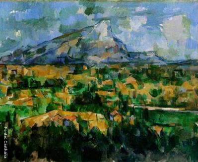 Paul Cézanne(1839-1906), Aix-en-Provence – França. Pintor francês, um dos maiores do pós-impressionistas, cujas obras e idéias foram influentes no desenvolvimento estético de muitos artistas do século 20 e nos movimentos de arte, especialmente o cubismo. A arte de Cézanne, incompreendido e desacreditado pelo público durante a maior parte de sua vida, cresceu a partir do impressionismo e, eventualmente, desafiou todos os valores convencionais da pintura no século 19 através de sua insistência na expressão pessoal e à integridade da própria pintura. Ele tem sido chamado o pai da pintura moderna. Cézanne tornou-se também pintou no gênero de Paisagem, pelo contato que teve com o Impressionismo, época em que começou a pintar ao ar livre. Durante sua vida, morou em várias cidades, mas preservou seus vínculos subjetivos com Aix-en-Provence. Trabalhou muito em seus arredores, na região de Provence. A montanha de Saint Victoire, que ficava perto de sua casa, exerceu grande atração no artista. Ele a representou em torno de 60 vezes, por diversos ângulos, entre desenhos e pinturas. <br/> Palavras-chave: Paul Cézanne, pintura, A montanha de Saint Victoire