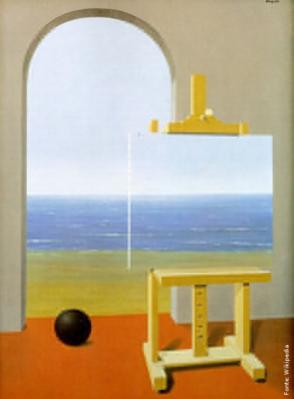 René François Ghislan Magritte (Bélgica, 1898 - 1967). Um dos principais pintores surrealistas, usava de forma recorrente o torso feminino, o chapéu côco, o castelo e a janela, entre outros elementos. Sua obras são metáforas, representações realistas de um mundo impossível de ser encontrado na vida real. <br/><br/> Palavras-chave: rene magritte, surrealismo, arte moderna.