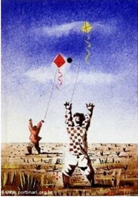 """Descrição: Candido Torquato Portinari (Brodowski, 29 de dezembro de 1903 — Rio de Janeiro, 6 de fevereiro de 1962). Portinari pintou quase cinco mil obras, de pequenos esboços a gigantescos murais. Foi o pintor brasileiro a alcançar maior projeção internacional. O quadro """"Meninos soltando pipas"""", pintado provavelmente em 1943, com 16 centímetros de altura por 11 centímetros e meio de largura. Tinta a guache sobre papel."""