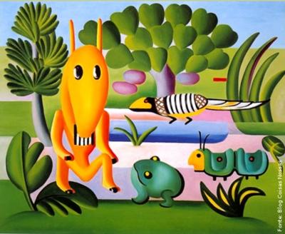 """Tarsila do Amaral (1886-1973) foi uma das mais importantes artistas do Brasil. Após passar dois anos em Paris, retorna a São Paulo em 1922 para integrar o """"Grupo dos Cinco"""", que defende as ideias da Semana de Arte Moderna e toma a frente do Movimento Modernista do país. Tarsila pintou este quadro no começo de 1924 e escreveu à sua filha dizendo que estava fazendo uns quadros """"bem brasileiros"""", e a descreveu como """"um bicho esquisito, no meio do mato, com um sapo, um tatu, e outro bicho inventado"""". Este quadro é também considerado um prenúncio da Antropofagia na obra de Tarsila e foi doado por ela ao Museu de Grenoble na França."""