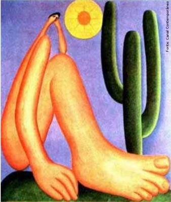 """Tarsila do Amaral (1886-1973) foi uma das mais importantes artistas do Brasil. Após passar dois anos em Paris, retorna a São Paulo em 1922 para integrar o """"Grupo dos Cinco """", que defende as ideias da Semana de Arte Moderna e toma a frente do Movimento Modernista do país.   Abaporu é um óleo sobre tela, de 1928, pintado por Tarsila do Amaral."""