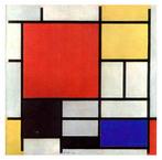 Piet Mondrian foi um pintor holandês que levou a arte abstrata às últimas consequências. Através de uma simplificação, tanto na composição como no colorido, tentava expor os princípios que estão por baixo da aparência. Mondrian nasceu em Amersfoort, Holanda, no dia 7 de março de 1872, e seu verdadeiro nome era Pieter Cornelis Mondrian. Decidiu empreender a carreira artística, mesmo contrariando a família, e estudou na Academia de Belas Artes de Amsterdã. <br/><br/> Suas primeiras obras, até 1907, eram paisagens serenas, pintadas em tons cinza e verde escuro. Em 1908, influenciado pelo pintor holandês Jan Toorop, começou a experimentar cores mais brilhantes, foi o ponto de partida para suas tentativas de transcender a natureza. Mudou-se para Paris em 1911, onde adotou o estilo cubista. Pouco a pouco foi se afastando do seminaturalismo para dedicar-se totalmete à abstração e, finalmente, chegar a um estilo no qual se limitou a pintar com traços finos horizontais e verticais. <br/><br/> Em 1917, junto com seu compatriota Theo van Doesburg fundou a revista De Stijl, na qual Mondrian desenvolveu sua teoria sobre as novas formas artísticas, que denominou neoplasticismo. A aplicação de suas teorias conduziu Mondrian a realizar obras como &quot;Composição em vermelho, amarelo e azul&quot; (1921), na qual a pintura, composta unicamente por algumas linhas e blocos de cores bem equilibrados, cria um efeito monumental apesar da escassez de meios, propositalmente limitados que emprega.  <br/><br/> Palavras-chave: Mondrian, composição, simplificação, arte abstrata.
