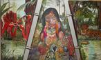 Eliane Szpaler, codinome EJeHos, é artista paranaense integrante da ALA(Academia Latino Americana de arte)lado Brasil, representando o interior paranaense (região do Vale do Ivaí). A tela Amazônia representa a mata e os indígenas em sua relação com a natureza. <br/><br/> Palavras-chave: arte paranaense, Eliane Spaler, Szpaler, EJeHos, pintura, amazônia, indígenas