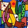 Romero Britto é um pintor e escultor brasileiro, nasceu em Recife-Pernambuco, em 6 de outubro de 1963. Hoje vive em Miami, nos Estados Unidos. Britto segue o estilo da Pop-Art, estilo artístico que surgiu no final dos anos 50 e está baseado no reprocessamento de imagens populares e de consumo, estando ligado ao trabalho publicitário. As telas de Romero Britto são alegres e coloridas, na maioria delas ele usa textura gráfica, explorando formas geométricas. Romero afirma já haver pintado 5.000 telas, espalhadas por 70 países. O quadro Abaporu é uma releitura da obra Abaporu de Tarsila do Amaral. <br/> Palavras-chave: Romero Britto, Abaporu, Tarsila do Amaral, Pop art, EUA, Miami, releitura, publicidade
