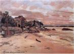 Obra do pintor Alfredo Andersen mostrando uma paisagem de Guaratuba, em 1925. <br/> Palavras-chave: Alfredo Andersen, Guaratuba, pintura paranaense