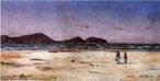 Obra do pintor Alfredo Andersen mostrando a praia de Pontal do Sul.  Palavras-chave: Alfredo Andersen, Pontal do Sul, pintura paranaense