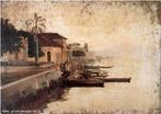 Obra do pintor Alfredo Andersen mostrando um detalhe do Porto de Paranaguá. <br/>  Palavras-chave: pintura paranaense, Alfredo Andersen, Paranaguá