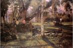 Obra do pintor Alfredo Andersen mostrando o sapeco da erva-mate. <br/>  Palavras-chave: Alfredo Andeersen, erva-mate, pintura paranaense