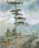 Miguel Bakun (1909 - 1963). Com uma pintura de acentos pós-impressionistas e expressionistas, Miguel Bakun é considerado um dos pioneiros da arte moderna no Paraná. Filho de imigrantes eslavos, ingressa na Escola de Aprendizes da Marinha, em Paranaguá, em 1926. É transferido para a Escola de Grumetes do Rio de Janeiro em 1928, onde conhece o jovem marinheiro e artista ainda desconhecido José Pancetti (1902 - 1958). Estimulado pelo amigo, começa a desenhar, seguindo sua inclinação de infância. Realiza desenhos nos diversos períodos em que precisa ficar de repouso por causa de acidentes. Em 1930 é desligado da Marinha por incapacidade física, em consequência de uma queda do mastro do navio. Transfere-se para Curitiba, onde trabalha como fotógrafo ambulante. Logo conhece os pintores Guido Viaro (1897 - 1971) e João Baptista Groff (1897 - 1970), que o incentivam a pintar. Autodidata, se dedica profissionalmente à pintura até o fim de sua vida. Esta obra retrata uma paisagem de pinheiros. <br/> Palavras-chave: Miguel Bakun, pintura paranaense.