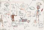 Jean Michel Basquiat costumava grafitar prédios em Nova Iorque utilizando o pseudônimo &quot;samo&quot; ou &quot;samo shit&quot; (same old shit - &quot;a mesma merda de sempre&quot;), o que despertou curiosidade do público. Posteriormente passou a pintar grandes telas, utilizando sinais e rabiscos característicos do grafite. <br/> Palavras-chave: Basquiat, grafite, arte de rua, pichação