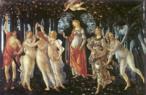 Pintura do artista renascentista Sandro Botticelli, Alessandro di Mariano de Vanni Felipepi(1444-1510), Florença – Itália (têmpera sobre painel de madeira, 205 x 315 cm). A Primavera é uma obra de temática mitológica clássica que nos apresenta a alegoria da chegada dessa estação. Ao centro encontra-se Vênus, que media toda a cena. Na tradição clássica, Vênus e o Cupido surgem para avivar os campos, fustigados pelo inverno, iniciando a primavera ao semear flores, beleza e atração entre todos os seres. À direita da obra encontramos três figuras. O primeiro, um ser esverdeado, Zéfiro, personificação do vento oeste, abraça a bela ninfa Cloris. Botticelli a representa em sua metamorfose, quando se transformava em Flora, a figura com vestido florido que cumpre sua função de adornar o mundo com flores. Sobre a cabeça de Vênus está o Cupido, seu filho, de olhos vendados, apontando a seta do amor em direção às três figuras que representam as Graças (Aglaia, Talia e Eufrónsina), símbolos da sensualidade, da beleza e da castidade. Mais à esquerda encontra-se Hermes dissipando as nuvens, fechando esse ciclo mitológico. Para a filosofia platônica, esse ciclo é a ligação ininterrupta entre o mundo e Deus, e vice-versa. <br/> Palavras-chave: Sandro Botticelli, pintura, A Primavera