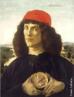 Pintura do artista renascentista Sandro Botticelli, Alessandro di Mariano de Vanni Felipepi(1444-1510), Florença – Itália (têmpera sobre madeira, 57,5 x 44 cm). O gênero do retrato tornou-se frequente na arte a partir do século XV, tanto na parte sul como na norte da Europa. Teve grande difusão tanto na corte e no clero como na burguesia urbana emergente da época. No caso desta obra de Botticelli existe um enigma sobre o personagem jovem que nos mostra a medalha com a figura de Cosimo de Médici, o Velho. <br/> Palavras-chave: Sandro Botticelli, pintura, Jovem com uma Medalha de Cosimo, o Velho