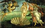 Pintura do artista renascentista Sandro Filipepi Botticelli (1444-1510, Florença-Itália). Botticelli retratava dois temas em suas obras: a Antiguidade grega e o Cristianismo. Para ele, a beleza estava associada ao ideal cristão da graça divina. Uma característica comum em suas obras é a leveza dos corpos esguios e desprovidos de força, que parecem flutuar, expressando suavidade. Nessa obra, ele representa Vênus, a deusa do Amor, na mitologia grega, emergindo do mar como mulher adulta. Veja também o vídeo &quot;Propaganda do sabonete Vinólia&quot;. <br/> Palavras-chave: Vênus, Sandro Filipepi Botticelli, renascimento, Antiguidade grega, mitologia grega