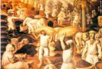 Em 1935 realizou-se em Nova Iorque a Exposição Internacional de Arte Moderna do Instituto Carnegie. O Brasil participa pela primeira vez e alguns artistas enviam as suas obras. Cândido Portinari expõe o óleo que fizera tempos antes - &quot;Café&quot;. Obtém a segunda menção honrosa, e muitos elogios por parte de críticos americanos: &quot;Café, de Cândido Portinari, é a aparição espectacular do Brasil&quot;. Os homens deformam-se com o peso dos sacos que trazem aos ombros. Os pés das figuras, na sua forma enorme, parecem ligar-se à terra, como dela fazendo parte. <br/> Palavras-chave: Portinari, pintura moderna, café