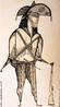 Obra do artista brasileiro Aldemir Martins retratando um cangaceiro. <br/> Palavras-chave: Aldemir Martins, arte moderna, arte brasileira, cangaceiro.