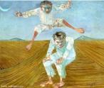 Candido Torquato Portinari (Brodowski, 29 de dezembro de 1903 — Rio de Janeiro, 6 de fevereiro de 1962). Portinari pintou quase cinco mil obras, de pequenos esboços a gigantescos murais. Foi o pintor brasileiro a alcançar maior projeção internacional. O quadro  <strong>Meninos pulando carniça<strong>, foi pintado em 1957, com 53 centímetros e meio de altura e 64 centímetros e meio de largura. Tinta a óleo sobre madeira. <br/> Palavras-chave: Cândido Portinari, Meninos pulando carniça, artista brasileiro