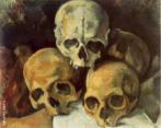 Paul Cézanne(1839-1906), Aix-en-Provence – França. Pintor francês, um dos maiores do pós-impressionistas, cujas obras e idéias foram influentes no desenvolvimento estético de muitos artistas do século 20 e nos movimentos de arte, especialmente o cubismo. A arte de Cézanne, incompreendido e desacreditado pelo público durante a maior parte de sua vida, cresceu a partir do impressionismo e, eventualmente, desafiou todos os valores convencionais da pintura no século 19 através de sua insistência na expressão pessoal e à integridade da própria pintura. Ele tem sido chamado o pai da pintura moderna. Cézanne escolheu o crânio humano como tema de algumas de suas obras. Esta escolha ganha maior significado quando pensada a partir dos conflitos internos vividos pelo artista. A caveira atua aqui como símbolo de suas angústias, tanto as existenciais quanto as inerentes ao ato de criação. Palavras-chave: Paul Cézanne, pintura, Pirâmide de crânios