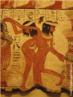 Imagem de detalhe da pintura mural do túmulo de Nebamun que mostra dançarinas e uma instrumentista. <br/> Palavras-chave: Egito, egiptologia, dança, dançarinas, Tumba de Nebamum, pintura mural, instrumentista