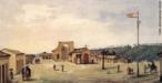 Quadro representado a cidade de Castro, de 1827. Jean Baptiste Debret (Paris, França 1768 - idem 1848). Pintor, desenhista, gravador, professor, decorador, cenógrafo.  <br/> Palavras-chave: Debret, pintura paranaense, Castro