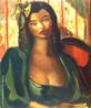 Emiliano Augusto Cavalcanti de Albuquerque e Melo, mais conhecido como Di cavalcanti, foi pintor, caricaturista e ilustrador brasileiro. Nasceu na cidade do Rio de Janeiro, em 6 de setembro de 1897 e faleceu em 26 de outubro de 1976, na mesma cidade. Idealizou e participou da Semana de Arte Moderna de 1922, expondo 11 obras de arte e elaborando a capa do catálogo. Seu estilo artístico é marcado pela influência do expressionismo, cubismo e dos muralistas mexicanos (Diego Rivera, por exemplo). Abordou temas tipicamente brasileiros como, por exemplo, o samba. Em suas obras são comuns também, os temas sociais do Brasil (festas populares, operários, as favelas, protestos sociais, etc). O MAC possui em seu acervo, além de pinturas, uma série de mais de 500 desenhos, que cobrem o período que vai da década de 20 até o ano de 1952: grafites, aquarelas, guaches e nanquins, generosamente doados pelo artista. O quadro &quot;Abigail&quot; foi pintado em 1947, com 64 centímetros de altura e 53 centímetros de largura. Tinta a óleo sobre tela. <br/> Palavras-chave: Di cavalcanti, Arte Moderna, pintor brasileiro, Semana de Arte Moderna, expressionismo, cubismo, temas sociais, MAC, Abigail