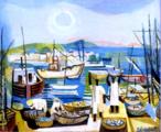 Emiliano Augusto Cavalcanti de Albuquerque e Melo, mais conhecido como Di cavalcanti, foi pintor, caricaturista e ilustrador brasileiro. Nasceu na cidade do Rio de Janeiro, em 6 de setembro de 1897 e faleceu em 26 de outubro de 1976, na mesma cidade. Idealizou e participou da Semana de Arte Moderna de 1922, expondo 11 obras de arte e elaborando a capa do catálogo. Seu estilo artístico é marcado pela influência do expressionismo, cubismo e dos muralistas mexicanos (Diego Rivera, por exemplo). Abordou temas tipicamente brasileiros como, por exemplo, o samba. Em suas obras são comuns também, os temas sociais do Brasil (festas populares, operários, as favelas, protestos sociais, etc). O MAC possui em seu acervo, além de pinturas, uma série de mais de 500 desenhos, que cobrem o período que vai da década de 20 até o ano de 1952: grafites, aquarelas, guaches e nanquins, generosamente doados pelo artista. O quadro &quot;Aldeia de Pescadores&quot; foi pintado em 1950. <br/> Palavras-chave: Di cavalcanti, Arte Moderna, pintor brasileiro, Semana de Arte Moderna, expressionismo, cubismo, temas sociais, MAC, Aldeia de pescadores