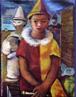 Emiliano Augusto Cavalcanti de Albuquerque e Melo, mais conhecido como Di Cavalcanti, foi pintor, caricaturista e ilustrador brasileiro. Nasceu na cidade do Rio de Janeiro, em 6 de setembro de 1897 e faleceu em 26 de outubro de 1976, na mesma cidade. Idealizou e participou da Semana de Arte Moderna de 1922, expondo 11 obras de arte e elaborando a capa do catálogo. Seu estilo artístico é marcado pela influência do expressionismo, cubismo e dos muralistas mexicanos (Diego Rivera, por exemplo). Abordou temas tipicamente brasileiros como, por exemplo, o samba. Em suas obras são comuns também, os temas sociais do Brasil (festas populares, operários, as favelas, protestos sociais, etc). O MAC possui em seu acervo, além de pinturas, uma série de mais de 500 desenhos, que cobrem o período que vai da década de 20 até o ano de 1952: grafites, aquarelas, guaches e nanquins, generosamente doados pelo artista. O quadro &quot;Arlequins&quot; foi pintado em 1943. <br/> Palavras-chave: Di cavalcanti, Arte Moderna, pintor brasileiro, Semana de Arte Moderna, expressionismo, cubismo, temas sociais, MAC, Arlequins
