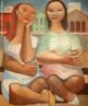 Emiliano Augusto Cavalcanti de Albuquerque e Melo, mais conhecido como Di Cavalcanti, foi pintor, caricaturista e ilustrador brasileiro. Nasceu na cidade do Rio de Janeiro, em 6 de setembro de 1897 e faleceu em 26 de outubro de 1976, na mesma cidade. Idealizou e participou da Semana de Arte Moderna de 1922, expondo 11 obras de arte e elaborando a capa do catálogo. Seu estilo artístico é marcado pela influência do expressionismo, cubismo e dos muralistas mexicanos (Diego Rivera, por exemplo). Abordou temas tipicamente brasileiros como, por exemplo, o samba. Em suas obras são comuns também, os temas sociais do Brasil (festas populares, operários, as favelas, protestos sociais, etc). O MAC possui em seu acervo, além de pinturas, uma série de mais de 500 desenhos, que cobrem o período que vai da década de 20 até o ano de 1952: grafites, aquarelas, guaches e nanquins, generosamente doados pelo artista. O quadro &quot;Duas mulatas&quot; foi pintado em 1962. <br/> Palavras-chave: Di cavalcanti, Arte Moderna, pintor brasileiro, Semana de Arte Moderna, expressionismo, cubismo, temas sociais, MAC, Duas mulatas