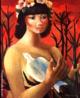 Emiliano Augusto Cavalcanti de Albuquerque e Melo, mais conhecido como Di Cavalcanti, foi pintor, caricaturista e ilustrador brasileiro. Nasceu na cidade do Rio de Janeiro, em 6 de setembro de 1897 e faleceu em 26 de outubro de 1976, na mesma cidade. Idealizou e participou da Semana de Arte Moderna de 1922, expondo 11 obras de arte e elaborando a capa do catálogo. Seu estilo artístico é marcado pela influência do expressionismo, cubismo e dos muralistas mexicanos (Diego Rivera, por exemplo). Abordou temas tipicamente brasileiros como, por exemplo, o samba. Em suas obras são comuns também, os temas sociais do Brasil (festas populares, operários, as favelas, protestos sociais, etc). O MAC possui em seu acervo, além de pinturas, uma série de mais de 500 desenhos, que cobrem o período que vai da década de 20 até o ano de 1952: grafites, aquarelas, guaches e nanquins, generosamente doados pelo artista. O quadro <strong>Mulata com pássaro</strong> foi pintado na década de 1950. <br/> Palavras-chave: Di Cavalcanti, Arte Moderna, pintor brasileiro, Semana de Arte Moderna, expressionismo, cubismo, temas sociais, MAC, Mulata com pássaro
