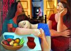 Emiliano Augusto Cavalcanti de Albuquerque e Melo, mais conhecido como Di cavalcanti, foi pintor, caricaturista e ilustrador brasileiro. Nasceu na cidade do Rio de Janeiro, em 6 de setembro de 1897 e faleceu em 26 de outubro de 1976, na mesma cidade. Idealizou e participou da Semana de Arte Moderna de 1922, expondo 11 obras de arte e elaborando a capa do catálogo. Seu estilo artístico é marcado pela influência do expressionismo, cubismo e dos muralistas mexicanos (Diego Rivera, por exemplo). Abordou temas tipicamente brasileiros como, por exemplo, o samba. Em suas obras são comuns também, os temas sociais do Brasil (festas populares, operários, as favelas, protestos sociais, etc). O MAC possui em seu acervo, além de pinturas, uma série de mais de 500 desenhos, que cobrem o período que vai da década de 20 até o ano de 1952: grafites, aquarelas, guaches e nanquins, generosamente doados pelo artista. O quadro &quot;Mulheres e frutas&quot; foi pintado em 1962, óleo sobre tela. Pertence a um colecionador particular (não divulgado) e até pouco tempo atrás era inédita para o grande público. <br/> Palavras-chave: Di cavalcanti, Arte Moderna, pintor brasileiro, Semana de Arte Moderna, expressionismo, cubismo, temas sociais, MAC, Mulheres e frutas