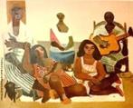 Emiliano Augusto Cavalcanti de Albuquerque e Melo, mais conhecido como Di Cavalcanti, foi pintor, caricaturista e ilustrador brasileiro. Nasceu na cidade do Rio de Janeiro, em 6 de setembro de 1897 e faleceu em 26 de outubro de 1976, na mesma cidade. Idealizou e participou da Semana de Arte Moderna de 1922, expondo 11 obras de arte e elaborando a capa do catálogo. Seu estilo artístico é marcado pela influência do expressionismo, cubismo e dos muralistas mexicanos (Diego Rivera, por exemplo). Abordou temas tipicamente brasileiros como, por exemplo, o samba. Em suas obras são comuns também, os temas sociais do Brasil (festas populares, operários, as favelas, protestos sociais, etc). O MAC possui em seu acervo, além de pinturas, uma série de mais de 500 desenhos, que cobrem o período que vai da década de 20 até o ano de 1952: grafites, aquarelas, guaches e nanquins, generosamente doados pelo artista. <br/> Palavras-chave: Di cavalcanti, Arte Moderna, pintor brasileiro, Semana de Arte Moderna, expressionismo, cubismo, temas sociais, MAC, Músicos