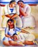 Emiliano Augusto Cavalcanti de Albuquerque e Melo, mais conhecido como Di Cavalcanti, foi pintor, caricaturista e ilustrador brasileiro. Nasceu na cidade do Rio de Janeiro, em 6 de setembro de 1897 e faleceu em 26 de outubro de 1976, na mesma cidade. Idealizou e participou da Semana de Arte Moderna de 1922, expondo 11 obras de arte e elaborando a capa do catálogo. Seu estilo artístico é marcado pela influência do expressionismo, cubismo e dos muralistas mexicanos (Diego Rivera, por exemplo). Abordou temas tipicamente brasileiros como, por exemplo, o samba. Em suas obras são comuns também, os temas sociais do Brasil (festas populares, operários, as favelas, protestos sociais, etc). O MAC possui em seu acervo, além de pinturas, uma série de mais de 500 desenhos, que cobrem o período que vai da década de 20 até o ano de 1952: grafites, aquarelas, guaches e nanquins, generosamente doados pelo artista. O quadro &lsaquo;Família na Praia&rsaquo;, foi pintado em 1935, com 1 metro de altura e 86 de largura. Tinta a óleo sobre tela. <br/> Palavras-chave: Di cavalcanti, Arte Moderna, pintor brasileiro, Semana de Arte Moderna, expressionismo, cubismo, temas sociais, MAC, Família na Praia