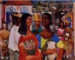 Pintura de Di Cavalcanti, técnica: óleo sobe tela, dimensões:72 x 90 cm. Emiliano Augusto Cavalcanti de Albuquerque e Melo, mais conhecido como Di Cavalcanti, foi pintor, caricaturista e ilustrador brasileiro. Nasceu na cidade do Rio de Janeiro, em 6 de setembro de 1897 e faleceu em 26 de outubro de 1976, na mesma cidade. Idealizou e participou da Semana de Arte Moderna de 1922, expondo 11 obras de arte e elaborando a capa do catálogo. Seu estilo artístico é marcado pela influência do expressionismo, cubismo e dos muralistas mexicanos (Diego Rivera, por exemplo). Abordou temas tipicamente brasileiros como, por exemplo, o samba. Em suas obras são comuns também, os temas sociais do Brasil (festas populares, operários, as favelas, protestos sociais, etc). O MAC possui em seu acervo, além de pinturas, uma série de mais de 500 desenhos, que cobrem o período que vai da década de 20 até o ano de 1952: grafites, aquarelas, guaches e nanquins, generosamente doados pelo artista.   Palavras-chave: Di cavalcanti, pintura, modernismo