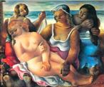 Emiliano Augusto Cavalcanti de Albuquerque e Melo, mais conhecido como Di Cavalcanti, foi pintor, caricaturista e ilustrador brasileiro. Nasceu na cidade do Rio de Janeiro, em 6 de setembro de 1897 e faleceu em 26 de outubro de 1976, na mesma cidade. Idealizou e participou da Semana de Arte Moderna de 1922, expondo 11 obras de arte e elaborando a capa do catálogo. Seu estilo artístico é marcado pela influência do expressionismo, cubismo e dos muralistas mexicanos (Diego Rivera, por exemplo). Abordou temas tipicamente brasileiros como, por exemplo, o samba. Em suas obras são comuns também, os temas sociais do Brasil (festas populares, operários, as favelas, protestos sociais, etc). O MAC possui em seu acervo, além de pinturas, uma série de mais de 500 desenhos, que cobrem o período que vai da década de 20 até o ano de 1952: grafites, aquarelas, guaches e nanquins, generosamente doados pelo artista. O quadro &quot;O Nascimento de Vênus&quot; de Di Cavalcanti, é uma releitura da obra de Sandro Botticelli, o qual apresenta a deusa Vênus da mitologia grega, porém em circunstâncias e contextos distintos. Com isso nota-se que existem alguns aspectos parecidos,como por exemplo, as formas que as supostas deusas localizam suas mãos e ao fundo da obra aparece o mar, como um símbolo do tropicalismo brasileiro. A obra foi pintada em 1940, com 54 cm de altura e 65 cm de largura. Tinta à óleo sobre tela. <br/> Palavras-chave: Di cavalcanti, Arte Moderna, pintor brasileiro, Semana de Arte Moderna, expressionismo, cubismo, temas sociais, MAC, O Nascimento de Vênus
