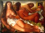 Emiliano Augusto Cavalcanti de Albuquerque e Melo, mais conhecido como Di Cavalcanti, foi pintor, caricaturista e ilustrador brasileiro. Nasceu na cidade do Rio de Janeiro, em 6 de setembro de 1897 e faleceu em 26 de outubro de 1976, na mesma cidade. Idealizou e participou da Semana de Arte Moderna de 1922, expondo 11 obras de arte e elaborando a capa do catálogo. Seu estilo artístico é marcado pela influência do expressionismo, cubismo e dos muralistas mexicanos (Diego Rivera, por exemplo). Abordou temas tipicamente brasileiros como, por exemplo, o samba. Em suas obras são comuns também, os temas sociais do Brasil (festas populares, operários, as favelas, protestos sociais, etc). O MAC possui em seu acervo, além de pinturas, uma série de mais de 500 desenhos, que cobrem o período que vai da década de 20 até o ano de 1952: grafites, aquarelas, guaches e nanquins, generosamente doados pelo artista. O quadro &quot;Vênus&quot;, foi pintado em 1938, com 95cm de altura e 130 de largura. Tinta a óleo sobre tela. <br/> Palavras-chave: Di cavalcanti, Arte Moderna, pintor brasileiro, Semana de Arte Moderna, expressionismo, cubismo, temas sociais, MAC, Vênus