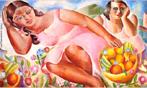 Emiliano Augusto Cavalcanti de Albuquerque e Melo, mais conhecido como Di Cavalcanti, foi pintor, caricaturista e ilustrador brasileiro. Nasceu na cidade do Rio de Janeiro, em 6 de setembro de 1897 e faleceu em 26 de outubro de 1976, na mesma cidade. Idealizou e participou da Semana de Arte Moderna de 1922, expondo 11 obras de arte e elaborando a capa do catálogo. Seu estilo artístico é marcado pela influência do expressionismo, cubismo e dos muralistas mexicanos (Diego Rivera, por exemplo). Abordou temas tipicamente brasileiros como, por exemplo, o samba. Em suas obras são comuns também, os temas sociais do Brasil (festas populares, operários, as favelas, protestos sociais, etc). O MAC possui em seu acervo, além de pinturas, uma série de mais de 500 desenhos, que cobrem o período que vai da década de 20 até o ano de 1952: grafites, aquarelas, guaches e nanquins, generosamente doados pelo artista. O quadro &quot;Mulheres com frutas&quot;, foi pintado em 1932, com 60 centímetros de altura e 1 metro de largura. Tinta a óleo sobre tela. Pertence à Coleção Particular. <br/> Palavras-chave: Di cavalcanti, Arte Moderna, pintor brasileiro, Semana de Arte Moderna, expressionismo, cubismo, temas sociais, MAC, Mulheres com frutas