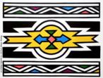 A artista sul-africana Esther Mahlangu de 75 anos, nascida em 1935, pertence à comunidade Ndebele de Gauteng, a norte de Pretoria. Pioneira em colocar as cores e formas Ndebele em telas, até então realizadas somente nos murais das casas. Desenha à mão livre, sem medições ou esboços utilizando tintas brilhantes. A sua arte é fortemente marcada pelo estilo original de sua tribo localizada na África do Sul, que emprega pinturas especiais nas paredes através de formas geométricas e multicoloridas. <br/><br/> Palavras-chave: Pintura. Africa do Sul. Esther mahlangu. Pinturas abstratas. Formas geométricas. Pintura mural.