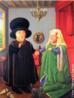 O muralista, escultor e pintor Fernando Botero, nasceu no dia 19 de abril de 1932, em Medellin na Colômbia. Considerado o artista vivo originário da América Latina mais conhecido, atualmente no mundo. Botero é um dos poucos artistas, que conseguiu expor suas obras em várias das avenidas e praças mais famosas de vários países. Suas obras se destacam, sobretudo, por figuras rotundas, o que pode sugerir a estaticidade da humanidade. Há de se perceber uma crítica social, especialmente no que diz respeito à ganância do ser humano. O quadro &ldquo;Após van Eyck&rdquo;, pintado em 1997, é uma releitura da obra  &ldquo;O casamento dos Arnolfini&rdquo;, pintado em 1434, por Van Eyck. <br/> <br/> Palavras-chave: fernando botero, medellin, colômbia, américa latina, formas volumosas, após van eyck , releitura, o casamento dos arnolfini