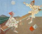 Candido Torquato Portinari (Brodowski, 29 de dezembro de 1903 — Rio de Janeiro, 6 de fevereiro de 1962). Portinari pintou quase cinco mil obras, de pequenos esboços a gigantescos murais. Foi o pintor brasileiro a alcançar maior projeção internacional. O quadro &lsaquo; Palhacinhos na gangorra&rsaquo;, foi pintado em 1957, com 54 centímetros de altura e 65 centímetros de largura. Tinta a óleo sobre madeira compensada. <br/> Palavras-chave: Cândido Portinari, palhacinhos, gangorra, artista brasileiro