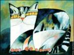 Gato Rajado, 1994. Obra da série &quot;Gatos&quot; de Aldemir Martins. <br/><br/> Palavras-chave: Arte brasileira. Aldemir Martins. Arte moderna. Gatos.