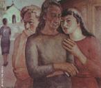 Pintura do Artista Guido Viaro. A obra é de 1943 e a técnica utilizada é óleo sobre tela, com dimensões de 76 x 90 cm. <br/><br/> Palavras-chave: guido viaro, fofoqueiras, pintura, arte paranaense
