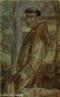 Pintura do artista Guido Viaro retratando São Francisco de Assis. A obra é de 1962 e a técnica utilizada é óleo sobre papel, com dimensões de 82,3 x 49,5 cm. <br/> Palavras-chave: Guido Viaro, São Francisco de Assis, pintura