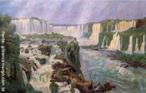Lange de Morretes nasceu em Morretes, em 1892, e faleceu em Curitiba, em 1954. Estudou pintura com Alfredo Andersen e artes gráficas na Alemanha. Foi pintor, desenhista, gravador e escultor. Neste quadro representa as Cataratas de Iguaçu, em 1920. <br/> Palavras-chave: Lange de Morretes, pintura paranaense, Cataratas do Iguaçu