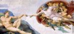 A pintura &quot;Nascimento do Homem&quot; encontra-se no teto da Capela Sistina, um dos trabalhos mais longos do pintor e escultor renascentista Michelangelo Buonarroti (1475-1564), que levou o período de 1508 a 1512 para narrar nove episódios do Gênese. Veja também o trecho do filme &quot;Agonia e Êxtase&quot; - contemplação do Nascimento do Homem. <br/> Palavras-chave: Gênesis, Michelangelo, Capela Sistina, Nascimento do Homem, Renascimento