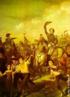 Uma da primeiras representações da independência do Brasil, este detalhe da obra de François Rene Moreaux, artista francês radicado no Brasil, nos mostra D. Pedro I levantando o chapéu e cercado por populares, contrapondo-se à representação suntuosa e um tanto ufanista de Pedro Américo.