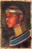Mulher da tribo Ndebele, África do Sul, com muitos colares. Lembra as &quot;mulheres girafa&quot; da Tailândia, pois usam colares em forma de aro no pescoço, bem como nas pernas e braços. <br/> Palavras-chave: mulher africana, tribo Nedebele, África do Sul, mulheres girafa, Tailândia, colares, aro no pescoço