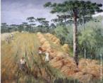 Obra do pintor Guilherme Matter (1904 -1978) mostrando uma plantação de trigo no Paraná.